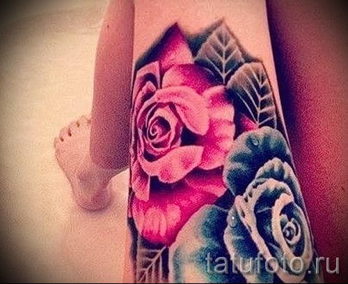 розы на ноге тату фото - фото вариант от 15122015 № 1