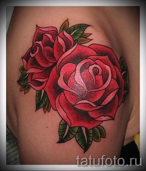 розы олд скул тату - фото вариант от 15122015 № 1