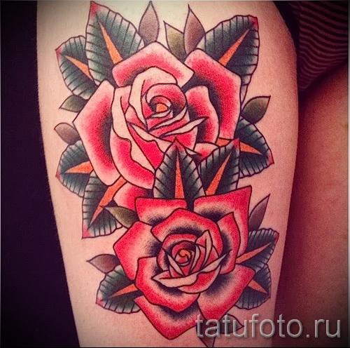 розы олд скул тату - фото вариант от 15122015 № 16