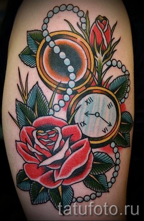 розы олд скул тату - фото вариант от 15122015 № 7