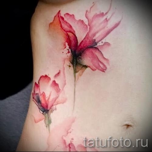 тату акварель цветы - фото вариант от 21122015 № 1