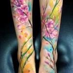 тату акварель цветы - фото вариант от 21122015 № 2