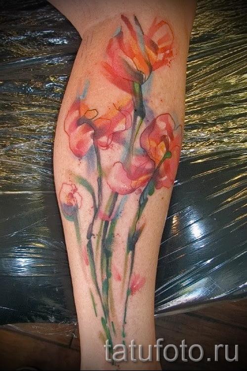 тату акварель цветы - фото вариант от 21122015 № 4