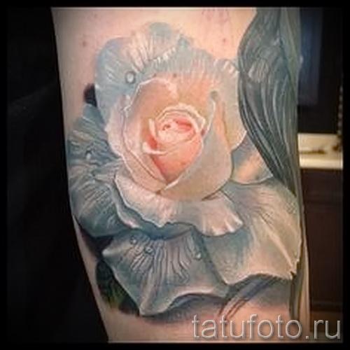 тату белая роза - фото вариант от 15122015 № 2
