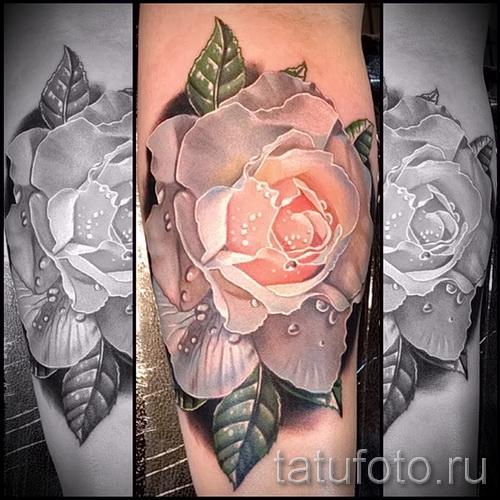 тату белая роза - фото вариант от 15122015 № 4