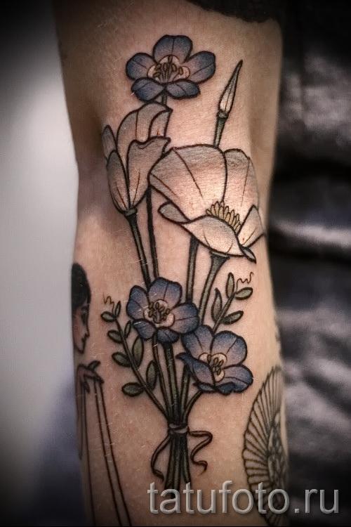 тату букет цветов - фото вариант от 21122015 № 2