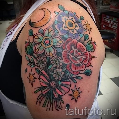 тату букет цветов - фото вариант от 21122015 № 4