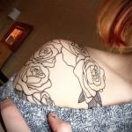 тату контурные розы - фото вариант от 15122015 № 2