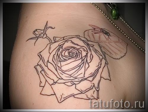 тату контурные розы - фото вариант от 15122015 № 6