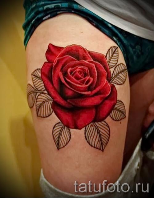 тату красная роза - фото вариант от 15122015 № 1