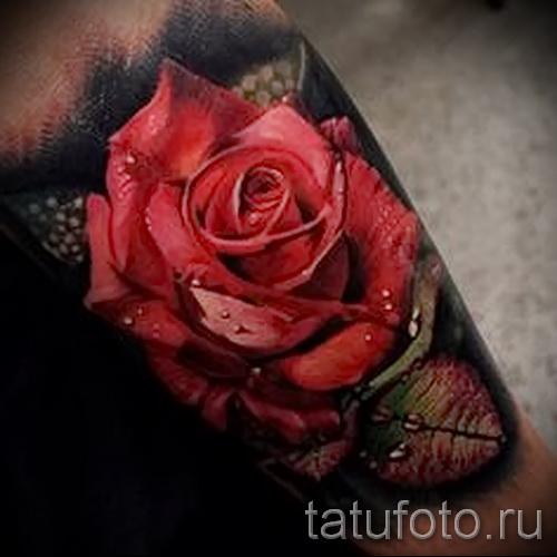 тату красная роза - фото вариант от 15122015 № 2