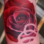 тату красная роза - фото вариант от 15122015 № 4