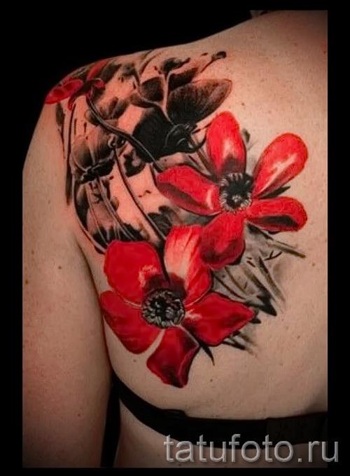 тату красный цветок - фото классной татуировки от 21122015 № 1