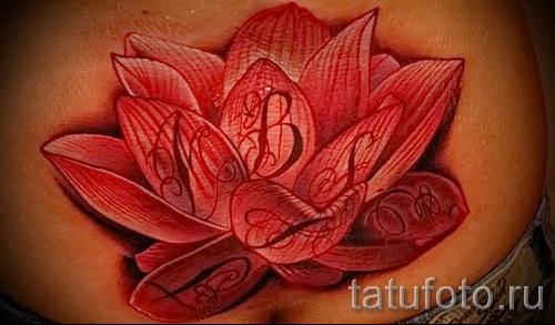 тату красный цветок - фото классной татуировки от 21122015 № 3
