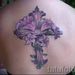 тату крест с цветами - фото вариант от 21122015 № 1