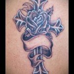 тату крест с цветами - фото вариант от 21122015 № 3
