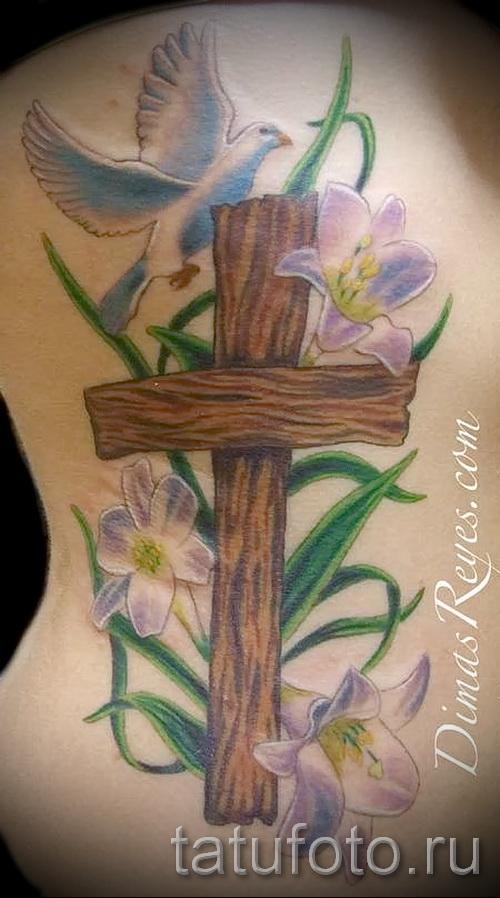 тату крест с цветами - фото вариант от 21122015 № 4