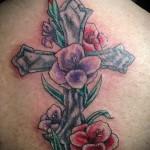 тату крест с цветами - фото вариант от 21122015 № 5