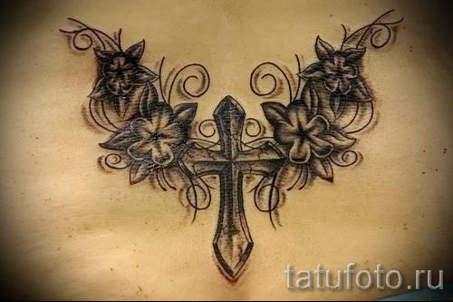 тату крест с цветами - фото вариант от 21122015 № 6