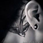 тату ласточка за ухом - фото пример 2