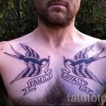 тату ласточки на груди - фото пример 14