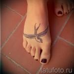 тату ласточки на ноге - фото пример 10