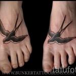 тату ласточки на ноге - фото пример 9