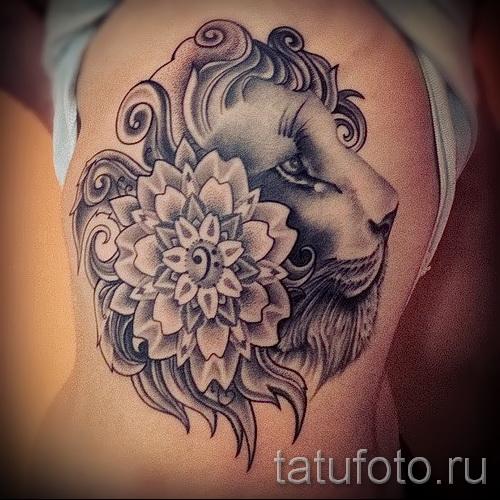 тату лев с цветами - фото классной татуировки от 21122015 № 2