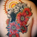 тату лев с цветами - фото классной татуировки от 21122015 № 3