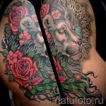 тату лев с цветами - фото классной татуировки от 21122015 № 4