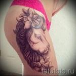 тату лев с цветами - фото классной татуировки от 21122015 № 6