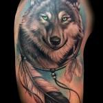 тату ловец снов и волк - фото пример от 11122014 № 1