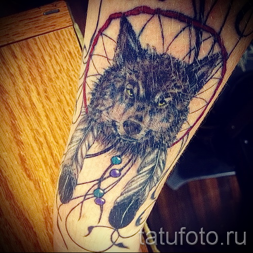 тату ловец снов и волк - фото пример от 11122014 № 13
