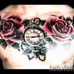 тату на груди розы - фото вариант от 15122015 № 16