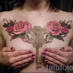 тату на груди розы - фото вариант от 15122015 № 2