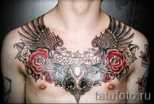 тату на груди розы - фото вариант от 15122015 № 25