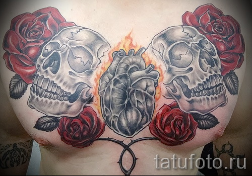 тату на груди розы - фото вариант от 15122015 № 26