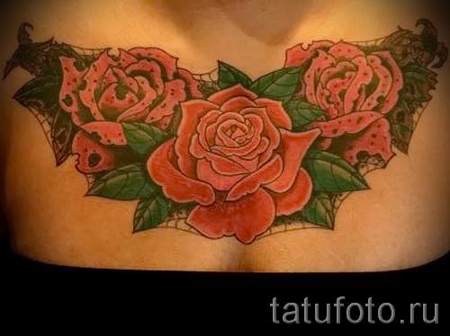 тату на груди розы - фото вариант от 15122015 № 30