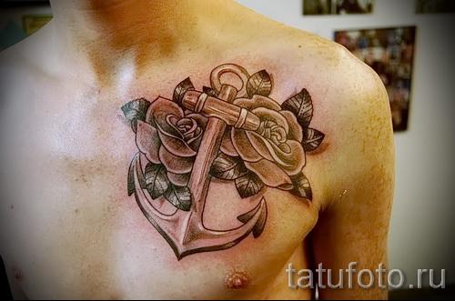 тату на груди розы - фото вариант от 15122015 № 34
