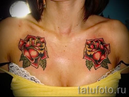 тату на груди розы - фото вариант от 15122015 № 4