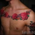 тату на груди розы - фото вариант от 15122015 № 5