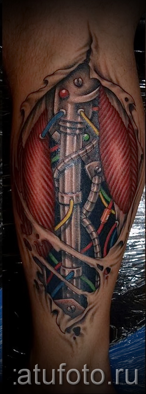 тату на икре ноги биомеханика - фото пример от 20122015 № 16