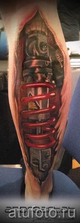тату на икре ноги биомеханика - фото пример от 20122015 № 3