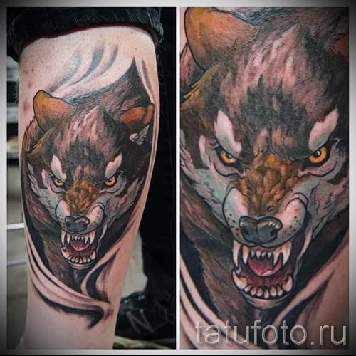 тату на икре ноги волк - фото пример от 20122015 № 4
