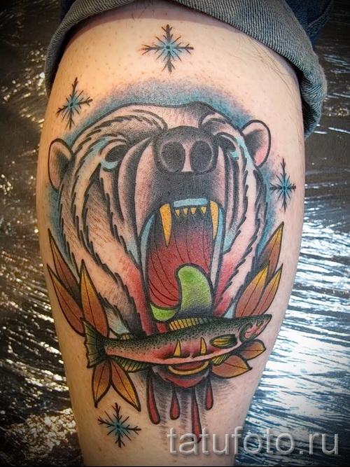 тату на икре ноги медведь - фото пример от 20122015 № 1