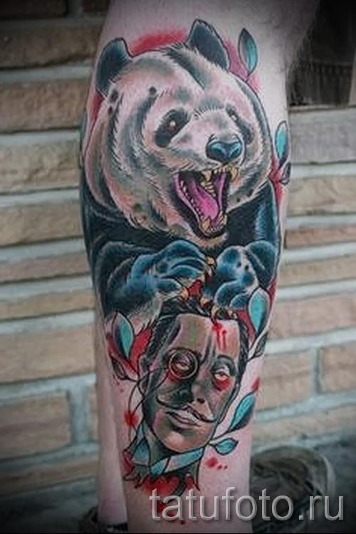 тату на икре ноги медведь - фото пример от 20122015 № 4