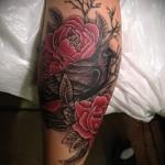 тату на икре ноги розы - фото пример от 20122015 № 3