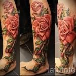 тату на икре ноги розы - фото пример от 20122015 № 8