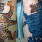тату на икре ноги тигр - фото пример от 20122015 № 11