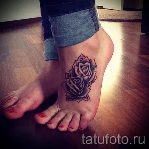 тату на ноге розы - фото вариант от 15122015 № 15